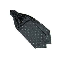 Ascot nyakkendő fekete-fehér pöttyös